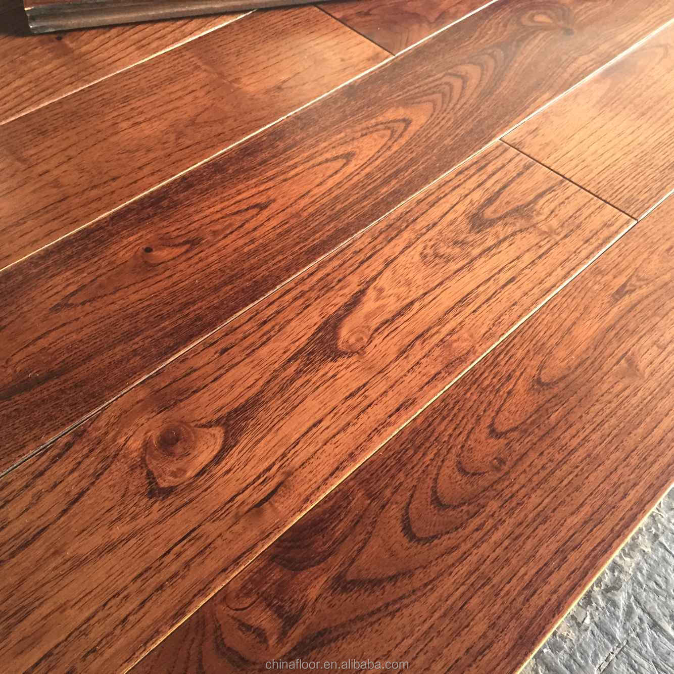 Red Wine color top grade prefinished Asian Teak solid wood floor