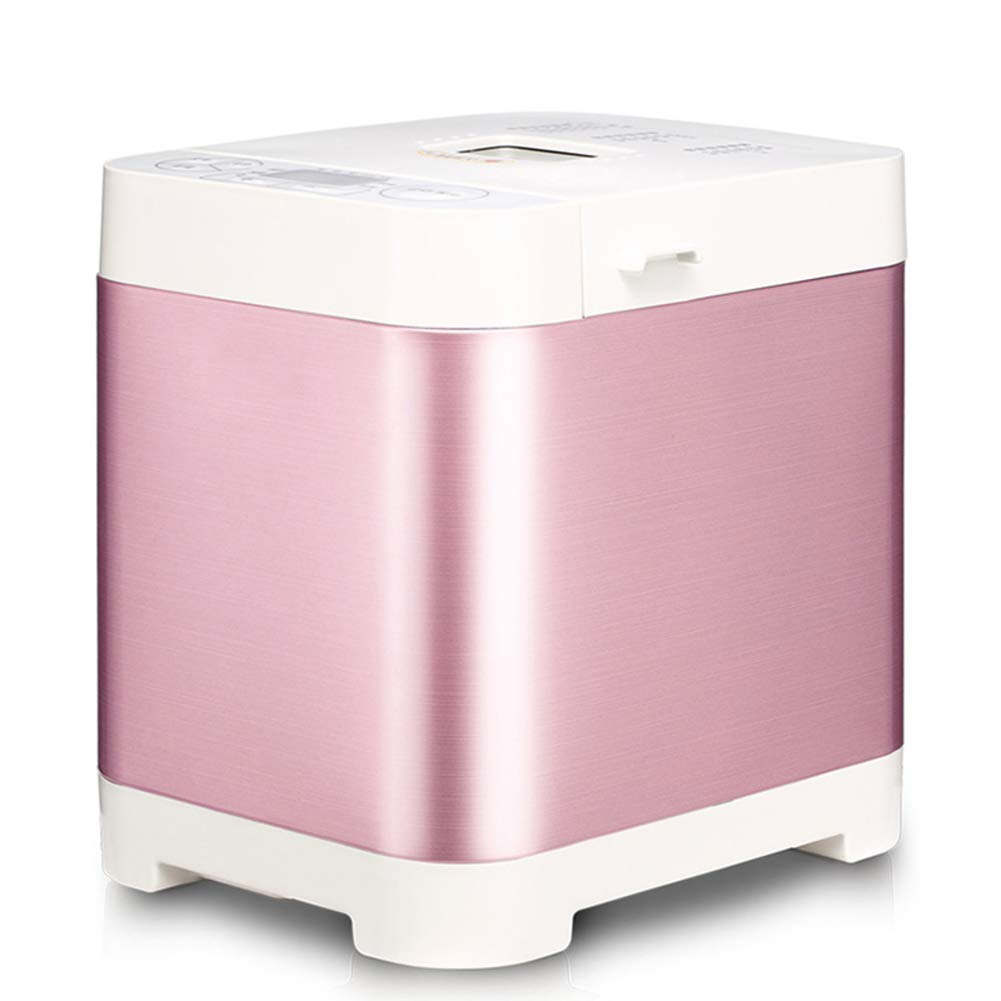LJ-MBJ Automatic Bread Maker, Non-Stick 13-Hour delay Timer 1.5 pounds 1h Keep Warm Breadmaker, Stainless Steel Bread Machine, Gluten Free Setting-Pink