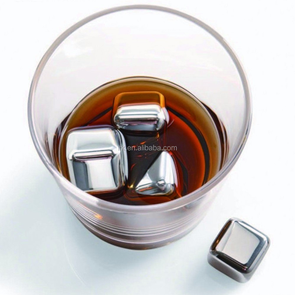 Stainless steel whisky stones,ice cube 6pc set ,hot sale in Amazon