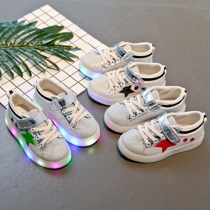 Hot selling bling bling star design light kids LED shoes