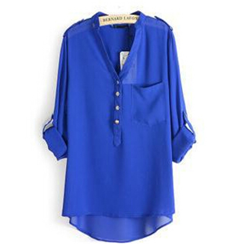 86efd8ad Spring And Autumn Hot 2015 Adjustable Sleeve Women Blouses Plus Size S-3XL  Chiffon Loose Blouse Shirt Tops Blusas Femininas