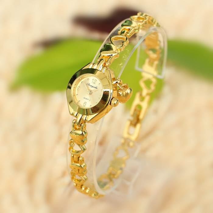 Золотой браслет Часы Марка Стиль Детям 2015 Relogios Женщина для моды Роскошные дамы кварцевые часы женские наручные часы женщин платья женские часы