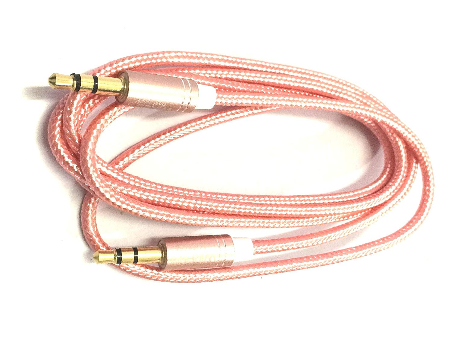 Detec Nylon Braided Aux Cable - Audio Cable - 1 Meter - Pink- Gold Plated Connectors