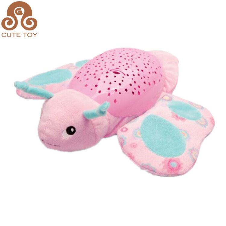 Plush Cartoon Stuffed Animal Night Light Projector And Music Baby