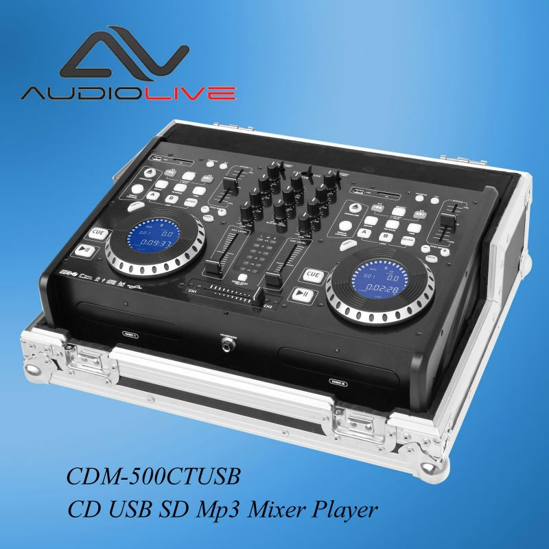 custom made dj mixer flight case CDM-500CTUSB PK CD USB SD MP3 and mixer player Pack Kit