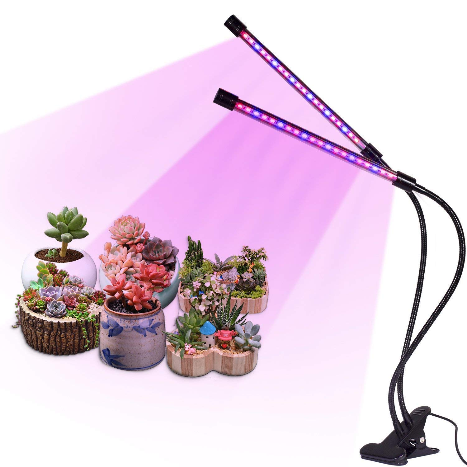LED Plant Grow Light with Auto Turn On Function, slitinto Dual Head 18W 36 LED 5 Dimmable Levels Grow Lamp Bulbs, 3/9/12H Timer, Spectrum Switching, Adjustable Gooseneck for Indoor Plants