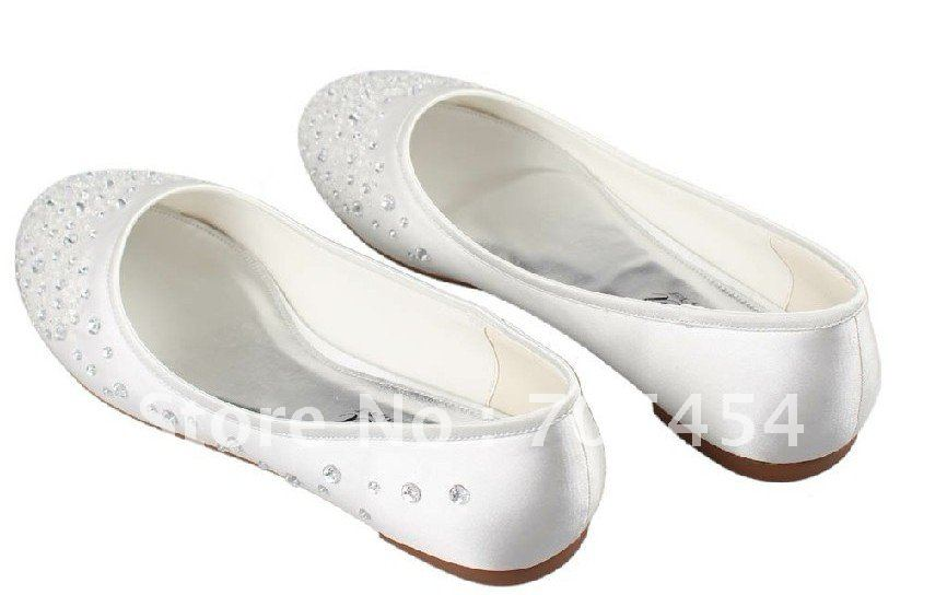 BS315  free shipping new style ivory flat beading bridal wedding shoes