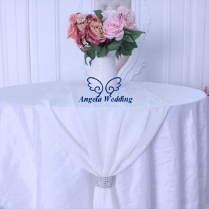 RU013T new 2019 wedding soft pure white plain white chiffon table runner for rectangle or round table