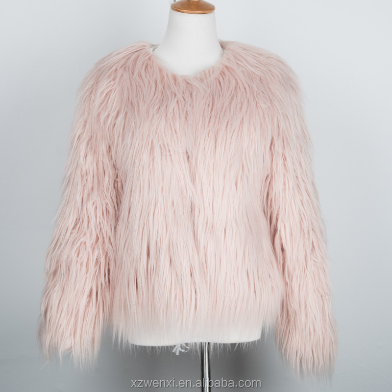 europe style 2016 new winter latest design fashion hot lady faux fur coat
