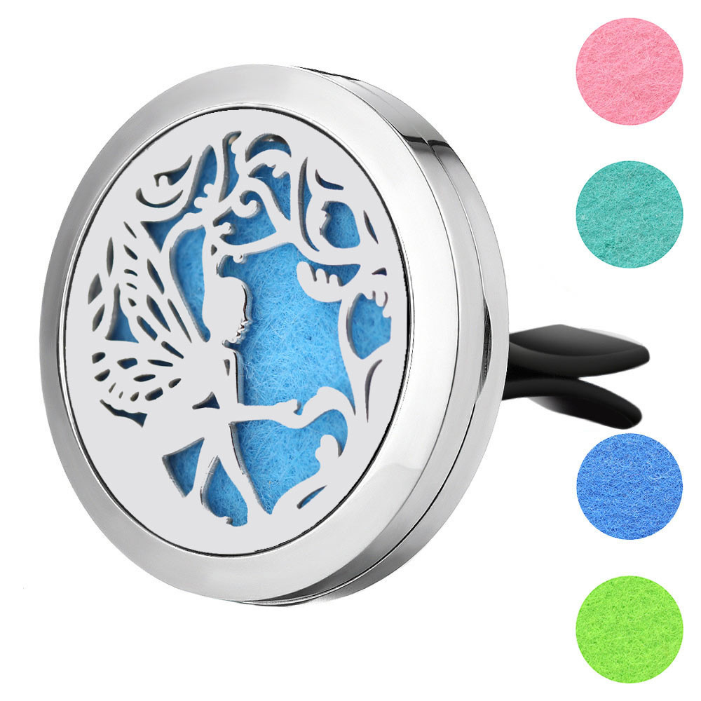 Wholesale 316L Stainless Steel Tree of Life 30mm Perfume Diffuser Locket Vent Aromatherapy Essential Oil Diffuser for Car