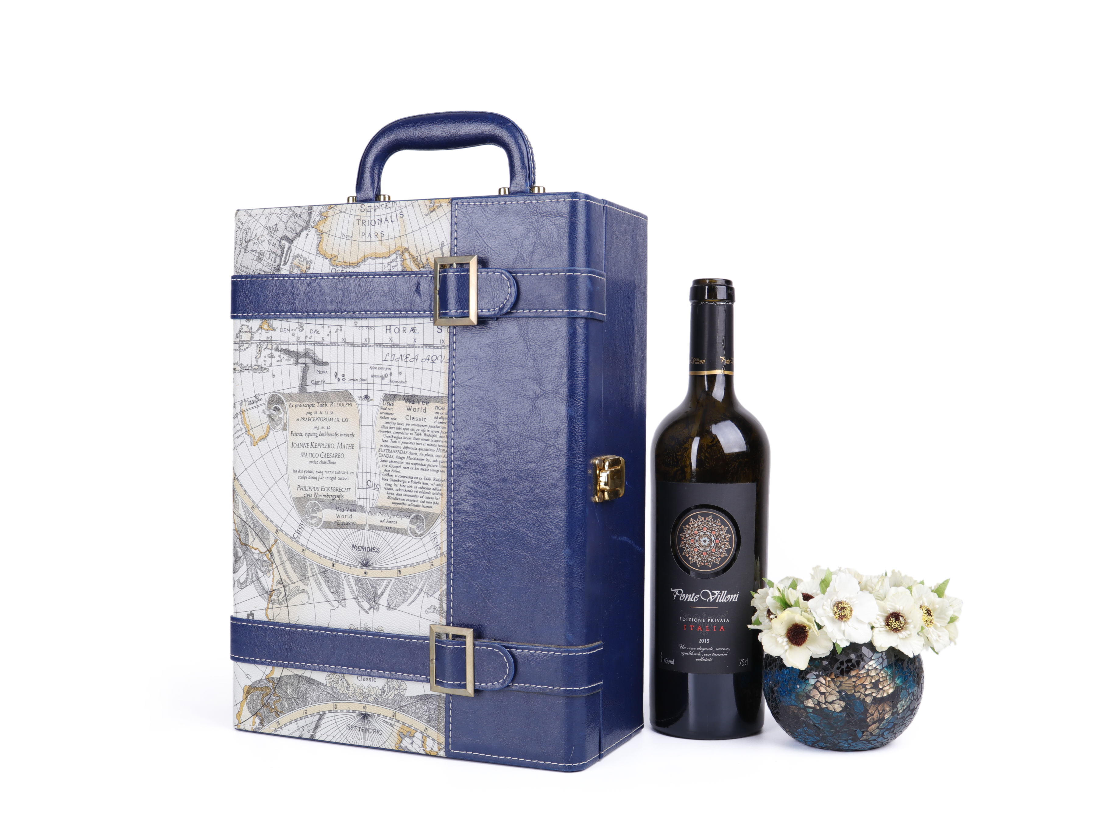 glossy lacquer painting wooden gift box wooden wine box for two bottles with lock