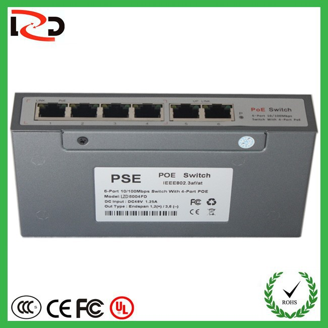 2015 best selling products 6 port gigabit POE switch 48v