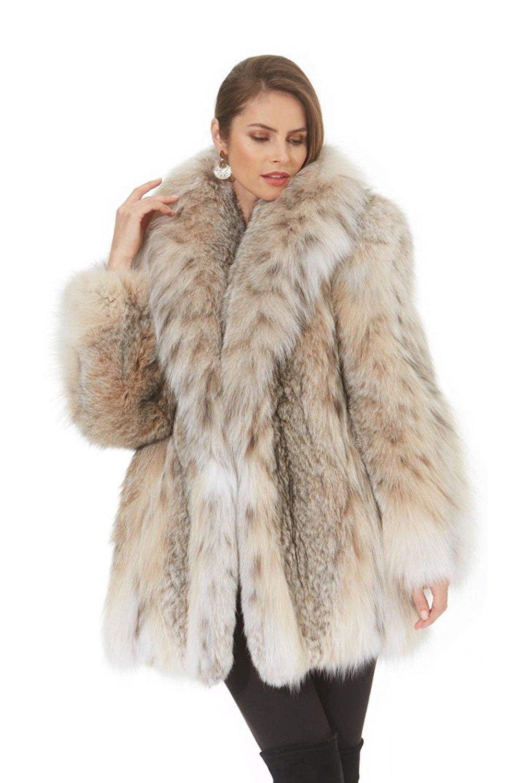 63b25da2a6119 Canadian Lynx Jacket Stroller Real Fur - Shawl Collar - Softly Splendid