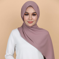Fancy hijab for muslim lady headcovering more than 100 solid colors soft heavy bubble pearl chiffon scarf eyelash shawl