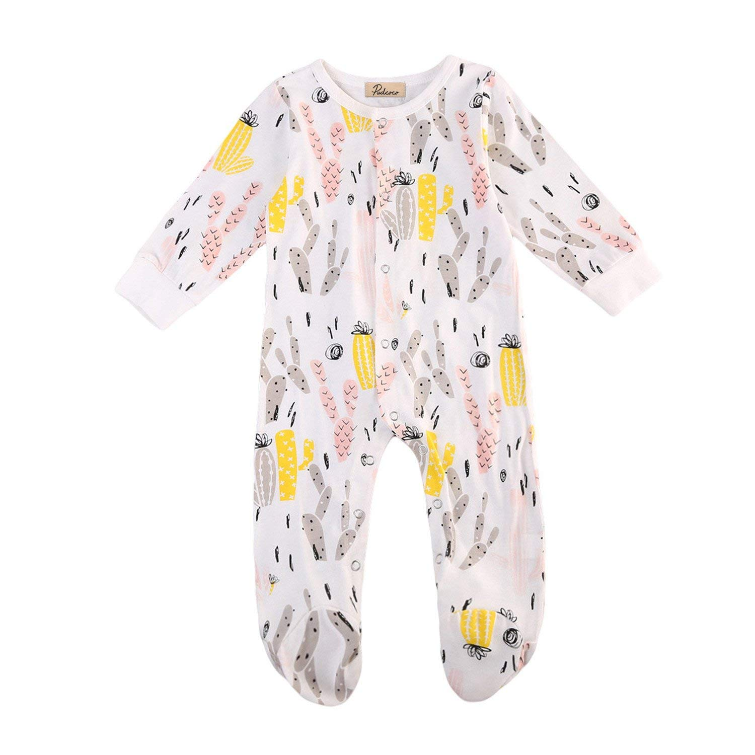 046871e6e Get Quotations · Terryws Newborn Baby Boy Sleepers Buttons Up Patterned  Sleep And Play Suit