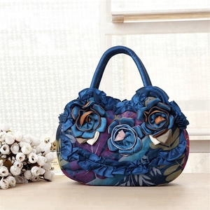 New arrival ladies tote hand bag shopping casual flower applique lady handbag
