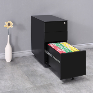 Shuangbin office furniture open mobile cabinet on wheels under desk rolling file cabinet