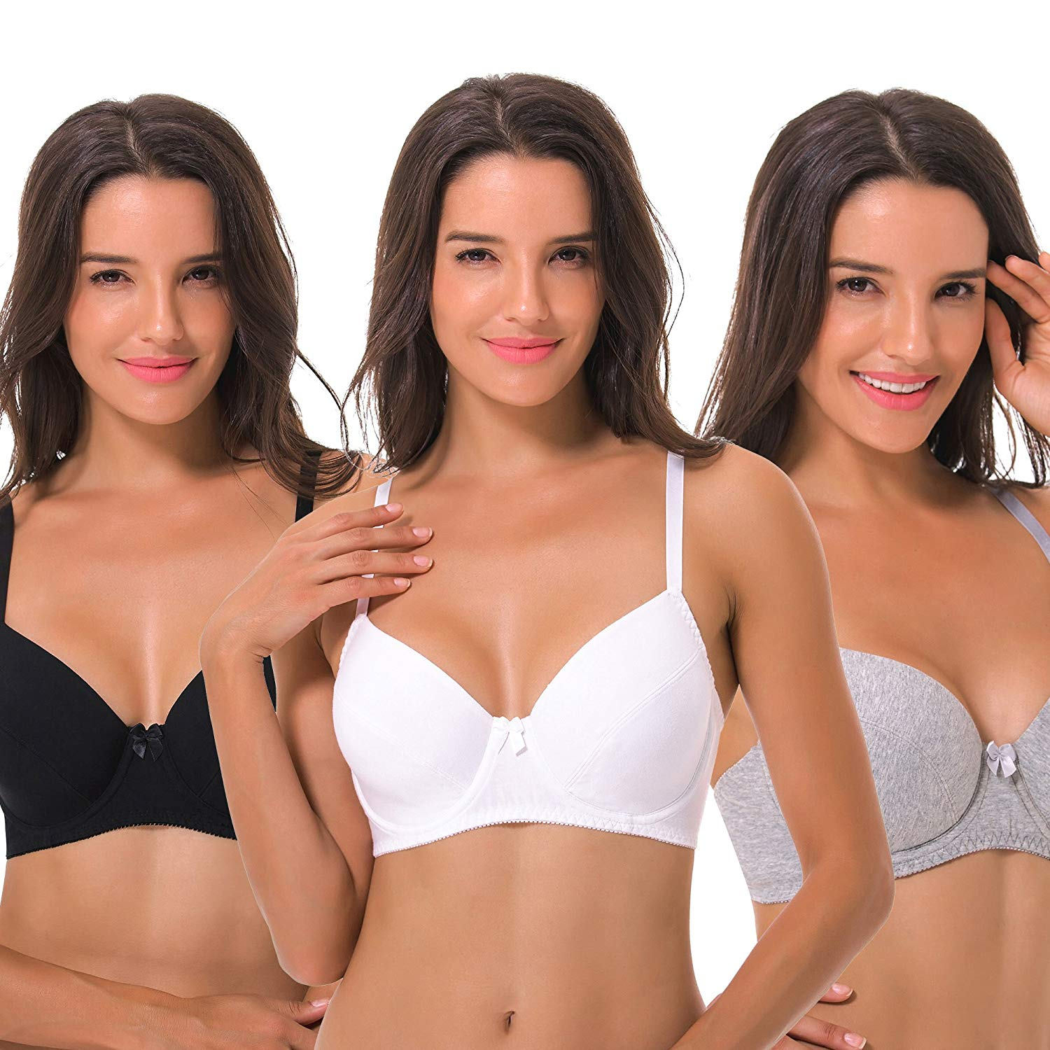 5580448540 Get Quotations · Curve Muse Plus Size Unlined Balconette Underwire Bra -3Pack(Size  34B to 48DDD