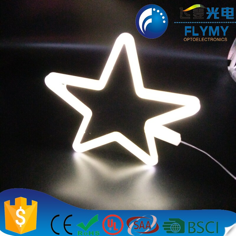 Neon Light Star Shaped Neon Sign-Lighted Neon STAR Sign Wall Decor Battery operated (White)