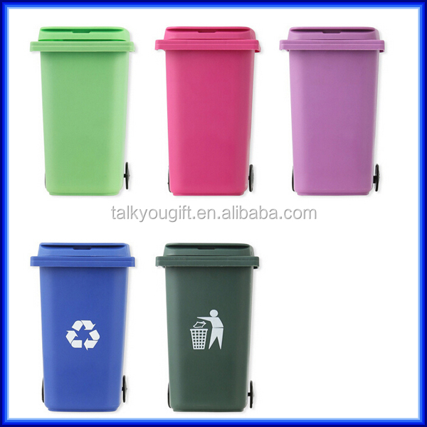 hot sell recycled plastic mini trash can pen holder office desktop trash can pen