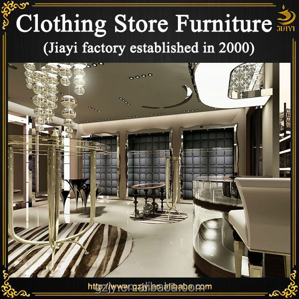 Hot selling high quality fashion wood shop furniture garment display and  garment shop interior design. Hot selling high quality fashion wood shop furniture garment