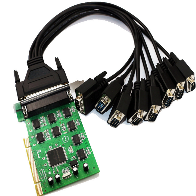 Moschip 16C1058 8-Port Serial PCI card with fan out cable PCI to 8 RS232 DB9 Ports converter Industrial IO card