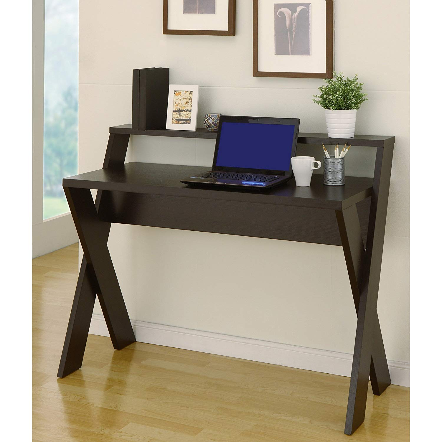 Intersecting Home/Office Desk, Made of Wood, MDF and Veneer, Contemporary and Sturdy, Ergonomic, Generous Top Shelf, X-Design, Greenguard Certified, Space Saving and Modern, Multiple Finishes