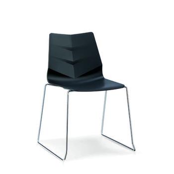 Merveilleux Modern Regal Black Plastic Chair With Bend Metal Legs