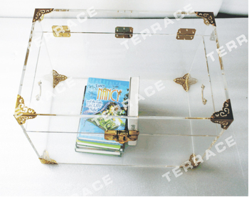 Antique clear acrylic storage chest or trunk