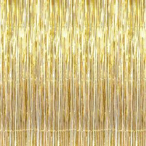 3.2 ft x 9.8 ft Metallic Tinsel Foil Fringe Curtains Party Photo Backdrop Wedding Decorations