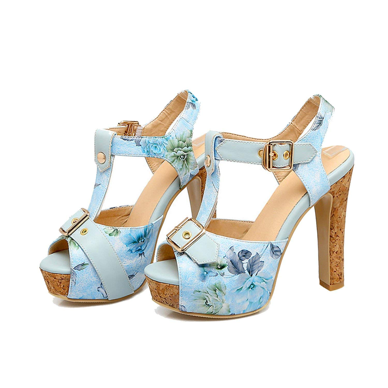 Sky-Pegasus 2018 Fashion Party Sandal High Heels Sandal Buckle Printing Platform Sandal Size 32 33-43 46,White,4