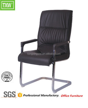 Low Back Director Chair Soft Pad With No Wheels Black Leather Office