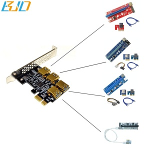 New arrival 4 Port USB 3.0 PCI-E 1x Adapter Card PCI-E 1 to 4 PCI-E X1 Slot PCIe riser for GPU ETH mining