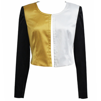 Latest design collarless waist jacket women, New arrival contrast color jacket for woman