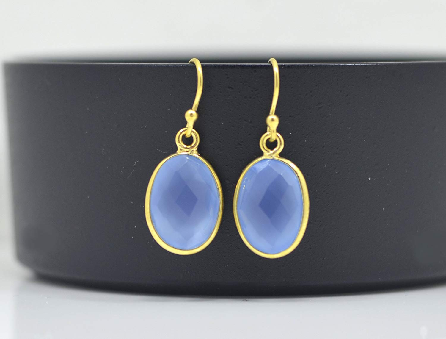 4ca5d96fa Get Quotations · Oval Blue Chalcedony Earrings Gold, Blue Chalcedony  Earrings Silver, Blue Chalcedony Earrings Sterling,
