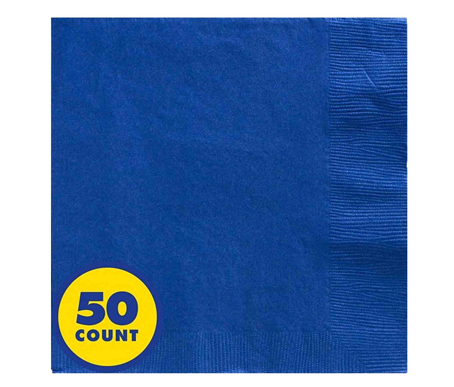 Mozlly Multipack - Amscan Bright Royal Blue Dinner Napkins Big Party Pack - 2 Ply - 7.6 x 7.6 inch - Party Tableware (50pc Set) (Pack of 6)