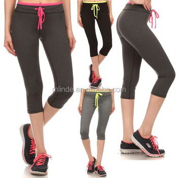 70850253b1 OEM Sublimated Sportswear Private Label COLOR Block WAIST SPORTS CAPRI  PANTS Wholesale Gym Running Tights Women
