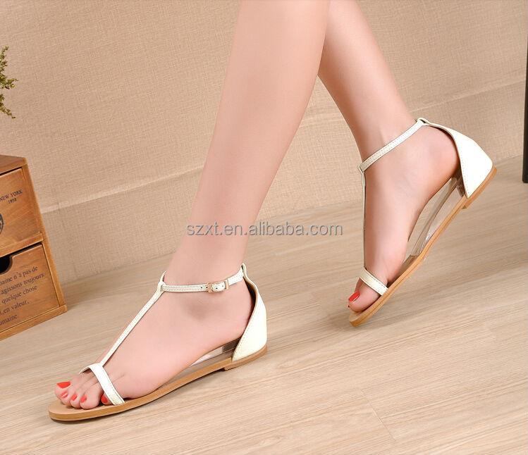 Fashion Latest Ladies Summer Flats Sandal Bridal Strap Flat Sandal ...