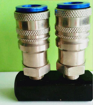 Straight two-way with two brass nitto automatic quick coupling