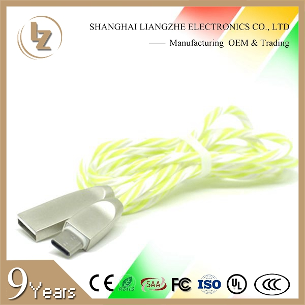 Eco-Friendly PVC Spiral 2 in 1 Cable for Charging and Data Transfer Mobile Phone Cable