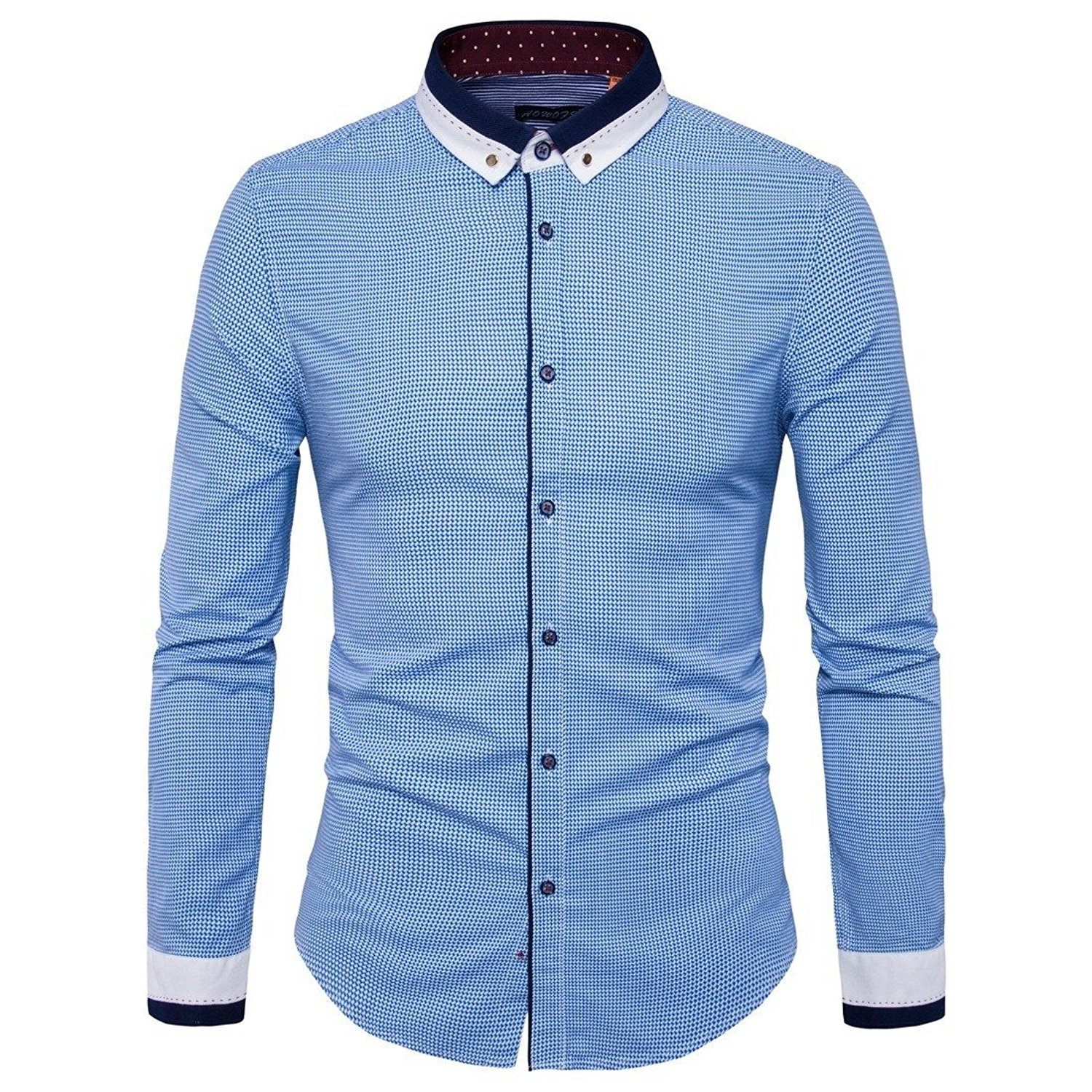 Winwinus Mens Slim Fit Striped Linen Short-Sleeve Casual Stand Collar Dress Shirts