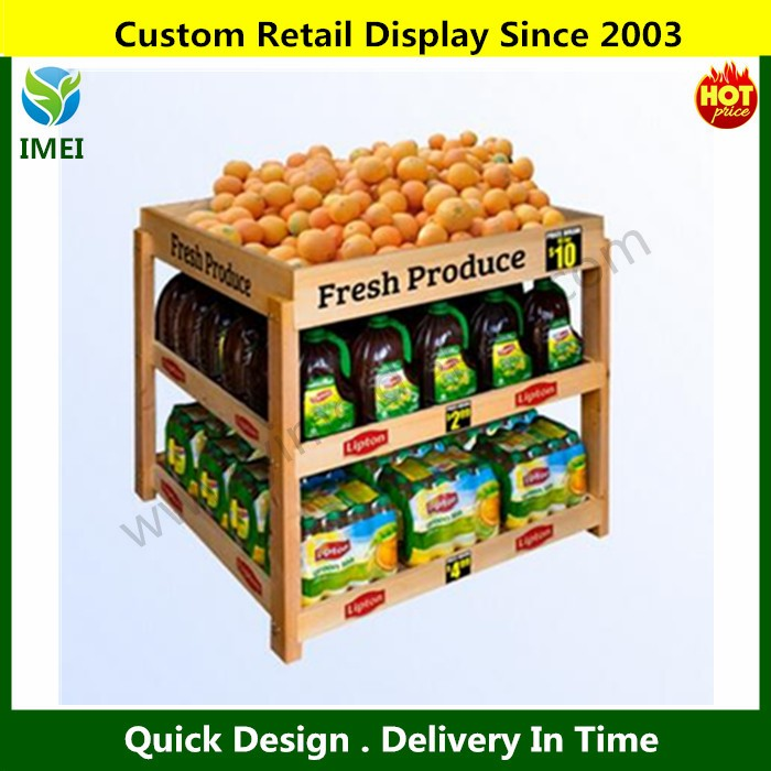 YM07263 lacquer fruit and vegetable display stand wholesale supermarket wood display rack