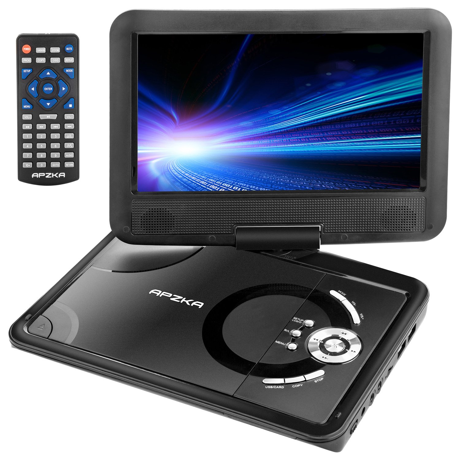 "Get Quotations · Apzka 9.5"" Portable DVD Player with Rechargeable Battery,  Game Joystick and Car charger,"