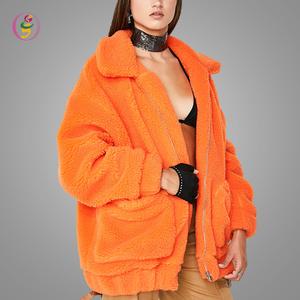 56dd1a2db97 High Quality Oversized Teddy Jacket Big Pocket Zip Up Velvet Thick  Streetwear Women Winter Orange Jacket