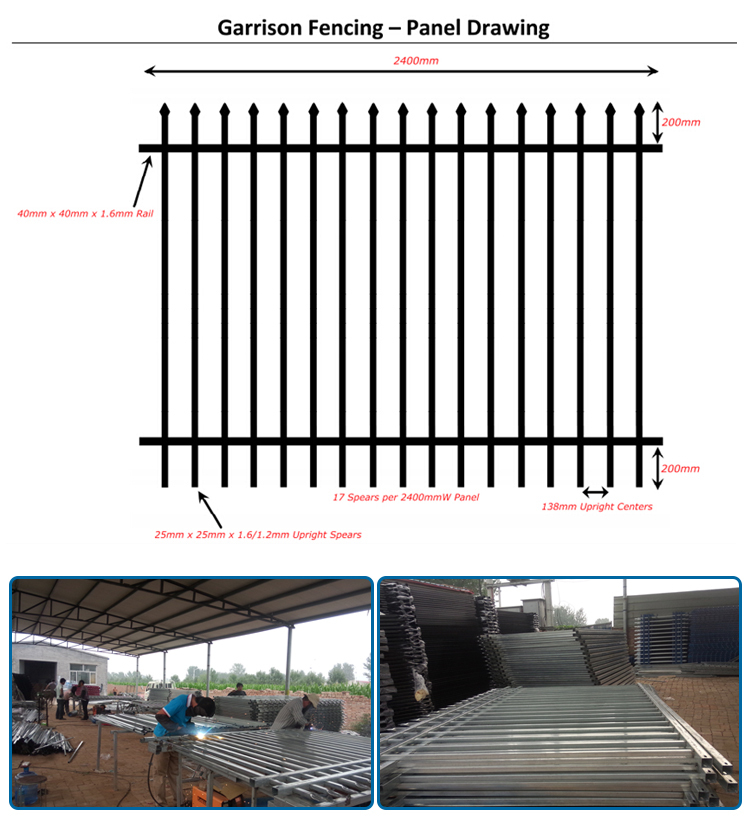 Factory diret sell 2400 mm W * 1800 mm H steel garrison fence