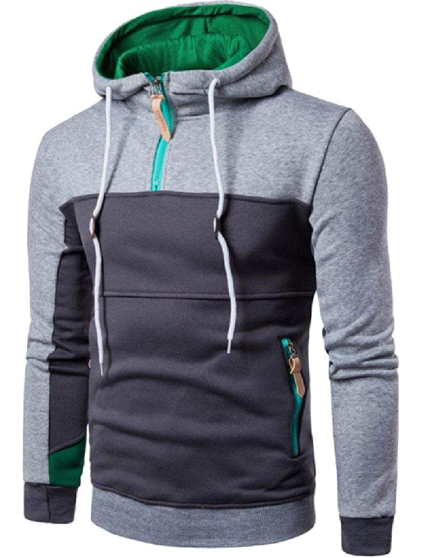 3217a6259964 Get Quotations · XTX Mens Stitching Breathable Hoodies Casual Biker Jacket  Coat