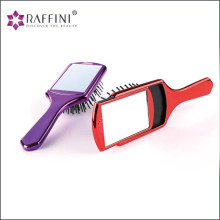 Creative design private label plastic square paddle hair brush with sliding mirror