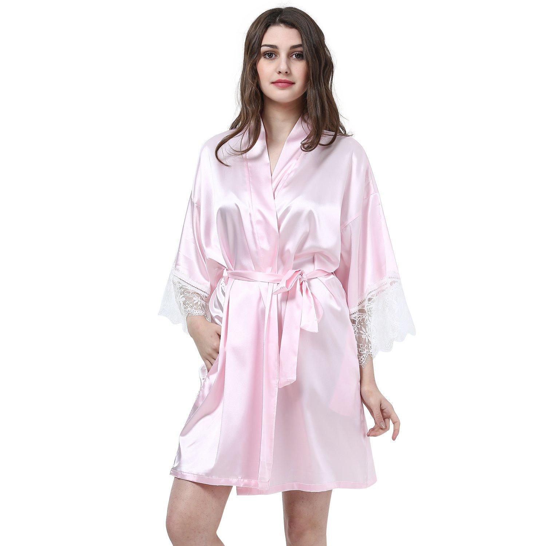 85e02367cf Get Quotations · Laku Women s Kimono Robes Satin Pure Colour Lace Robe  Bridesmaid Robe V-Neck Nightwear Bride