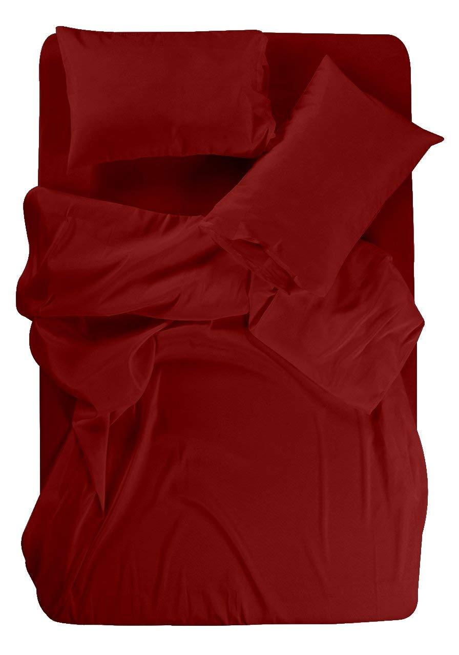 SNUG CUARTO Ultra Soft & Silky Bamboo Cotton Sheet Set, 100% Rayon Natural Bamboo Sheets Made In Italy 24 inches Deep Pocket Impression Italian Finish 600 Thread Count. (King,Burgundy)