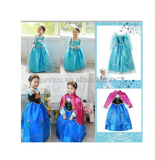 wholesale cheap Frozen Princess Girl Queen Elsa Anna Cosplay Costume Party Fancy Dress B
